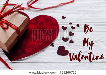 Be My Valentine Text Sign. Happy Valentine Day Concept. Stylish Present And Velvet Hearts With Ribbo