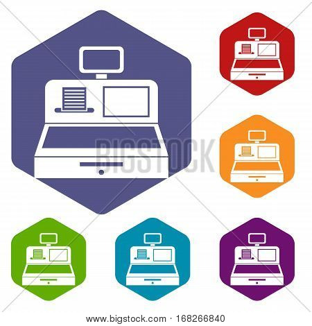 Cash register with cash drawer icons set rhombus in different colors isolated on white background