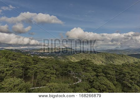 View from cable car in Da Lat city in Vietnam