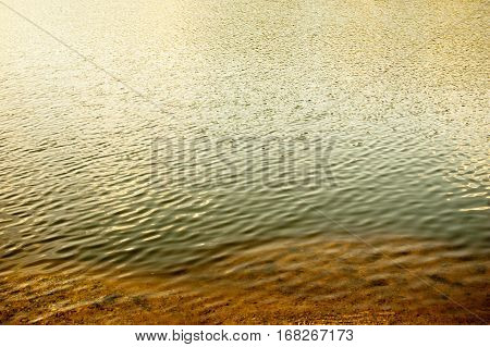 Riverbank, sand and rippled water with reflections a lot of space for text.