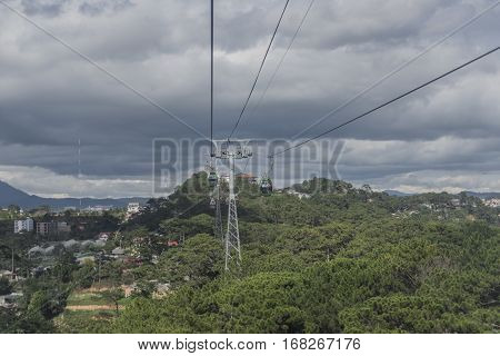Cable car in Da Lat city in Vietnam in nice sunny day