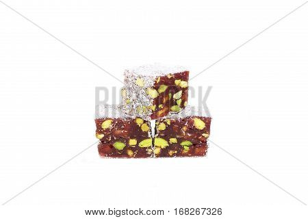 Turkish delight isolated on a white background