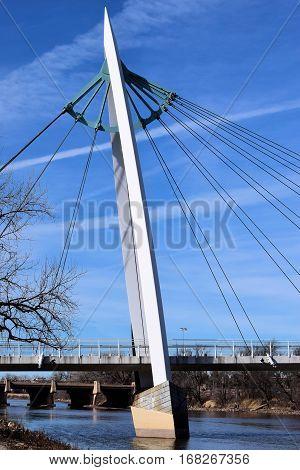 Keeper of the Plains Pedestrian Bridge on the Arkansas River taken in Wichita, KS