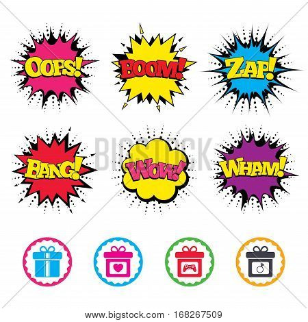 Comic Wow, Oops, Boom and Wham sound effects. Gift box sign icons. Present with bow and ribbons symbols. Engagement ring sign. Video game joystick. Zap speech bubbles in pop art. Vector