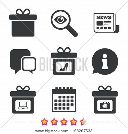 Gift box sign icons. Present with bow symbols. Photo camera sign. Woman shoes. Newspaper, information and calendar icons. Investigate magnifier, chat symbol. Vector