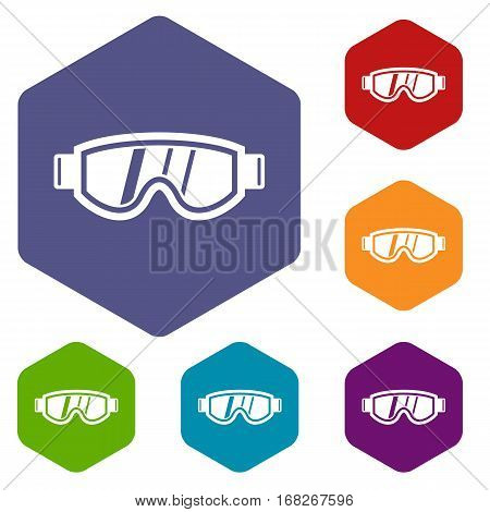 Skiing mask icons set rhombus in different colors isolated on white background