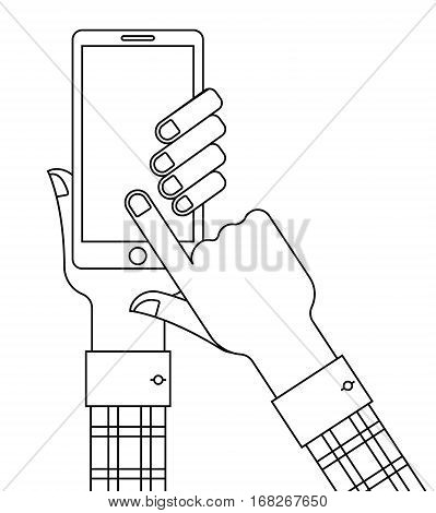 Hands holding smartphone and touching blank screen. Outline vector illustration.