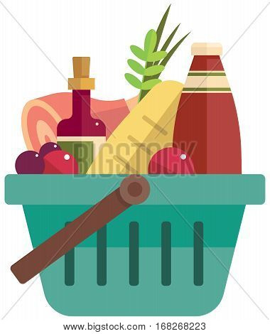 The basket with foods - color vector illustration