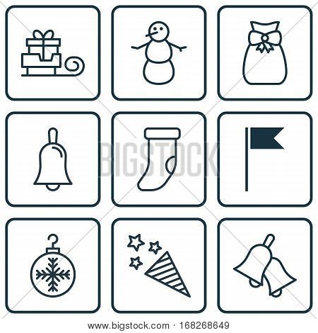 Set Of 9 Happy New Year Icons. Includes Flag Point, Fireplace Decoration, Firecracker And Other Symbols. Beautiful Design Elements.