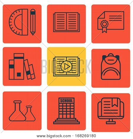 Set Of 9 Education Icons. Includes Diploma, Opened Book, Taped Book And Other Symbols. Beautiful Design Elements.