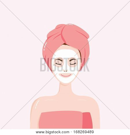 Woman with Beauty Mask on the Face with Towel on Head Vector Illustration Clipart