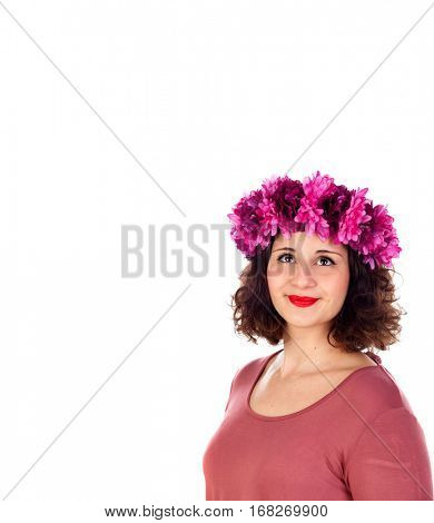 Beautiful curvy girl with a flowered headdress isolated on a white background