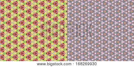 Color kaleidoscope backgrounds set - the vector color illustration (not seamless)
