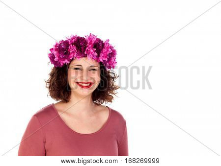 Beautiful curvy girl with a flowered headdress winking a eye isolated on a white background