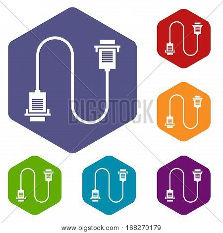 Cable wire computer icons set rhombus in different colors isolated on white background
