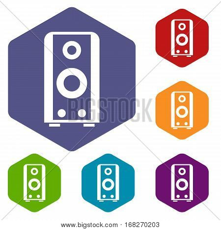 Black sound speaker icons set rhombus in different colors isolated on white background