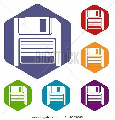 Magnetic diskette icons set rhombus in different colors isolated on white background