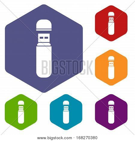 USB flash drive icons set rhombus in different colors isolated on white background
