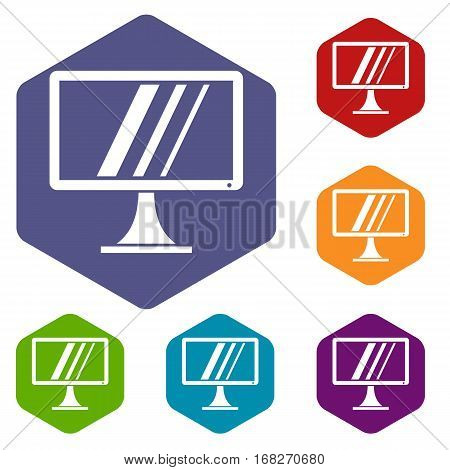 Computer monitor icons set rhombus in different colors isolated on white background