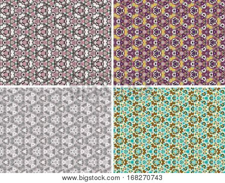 Color kaleidoscope backgrounds set - vector color illustration