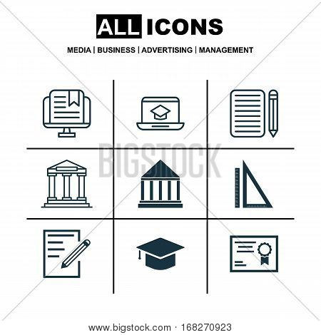 Set Of 9 School Icons. Includes Graduation, Education Center, College And Other Symbols. Beautiful Design Elements.