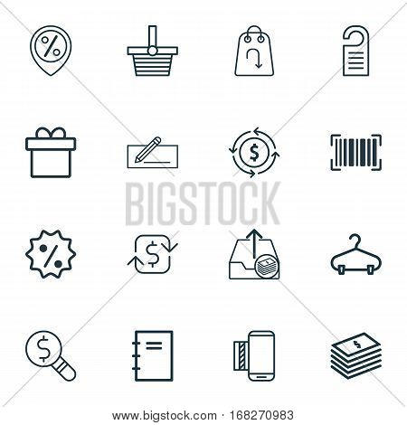 Set Of 16 Commerce Icons. Includes Recurring Payements, Rebate Sign, Business Inspection And Other Symbols. Beautiful Design Elements.