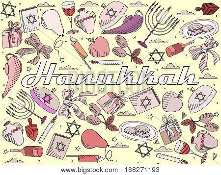 Hanukkah line art design vector illustration. Separate objects. Hand drawn doodle design elements.