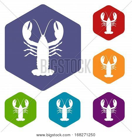 Crayfish icons set rhombus in different colors isolated on white background
