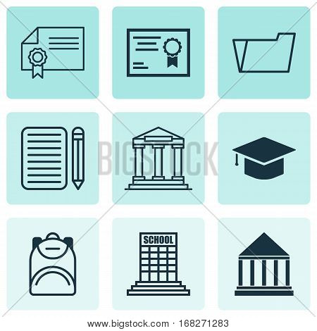 Set Of 9 School Icons. Includes Certificate, College, Document Case And Other Symbols. Beautiful Design Elements.