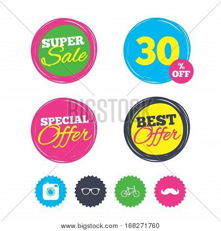 Super sale and best offer stickers. Hipster photo camera with mustache icon. Glasses symbol. Bicycle family vehicle sign. Shopping labels. Vector