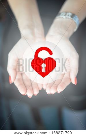 Find soul key concept with heart shaped padlock