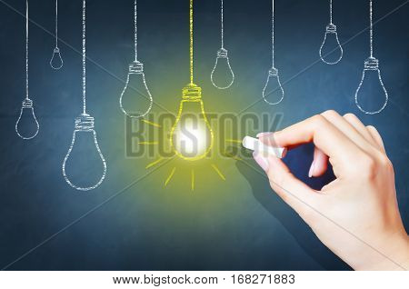 Bright idea concept with light bulbs drawings on blackboard