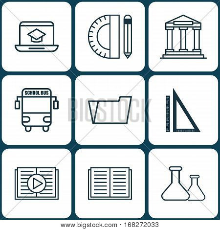 Set Of 9 School Icons. Includes Document Case, Chemical, Opened Book And Other Symbols. Beautiful Design Elements.