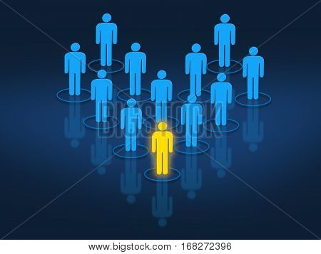 Team leader managing work force concept with interconnected human shaped silhouettes