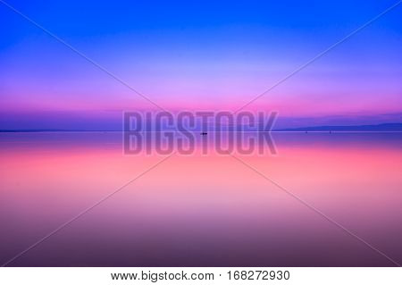 Beautiful sunset in lake Balaton-Hungary.Minimal color style