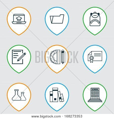 Set Of 9 Education Icons. Includes Document Case, Library, Education Tools And Other Symbols. Beautiful Design Elements.