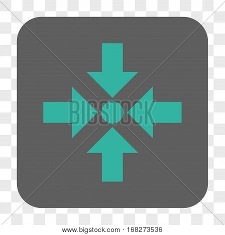 Shrink Arrows interface toolbar button. Vector icon style is a flat symbol in a rounded square button cyan and gray colors chess transparent background.