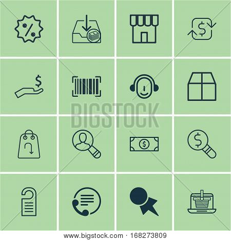 Set Of 16 E-Commerce Icons. Includes Buck, Employee, Spectator And Other Symbols. Beautiful Design Elements.