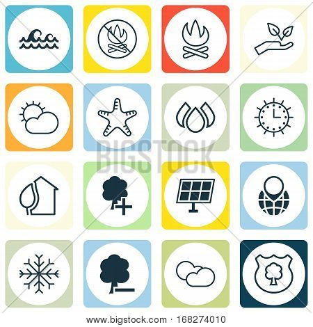 Set Of 16 Eco-Friendly Icons. Includes Aqua, Pin Earth, Timber And Other Symbols. Beautiful Design Elements.