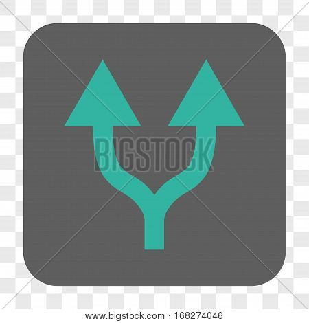 Split Arrows Up interface toolbar button. Vector icon style is a flat symbol in a rounded square button cyan and gray colors chess transparent background.