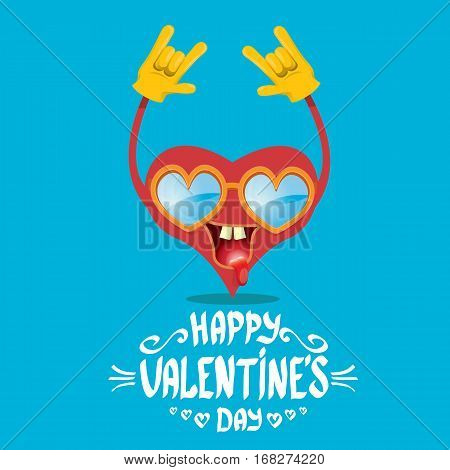 vector graphic creative happy valentines day card with cartoon heart character and and calligraphic text on blue background. rock n roll valentines day party concept poster design template