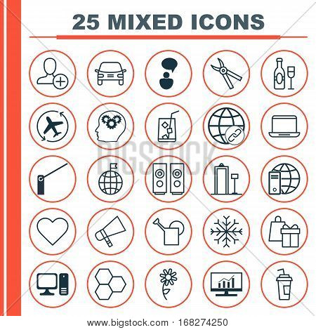 Set Of 25 Universal Editable Icons. Can Be Used For Web, Mobile And App Design. Includes Elements Such As Bailer, Travel Direction, Snow And More.