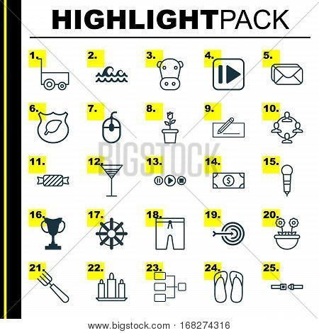 Set Of 25 Universal Editable Icons. Can Be Used For Web, Mobile And App Design. Includes Elements Such As Buck, System Structure, Arrow And More.