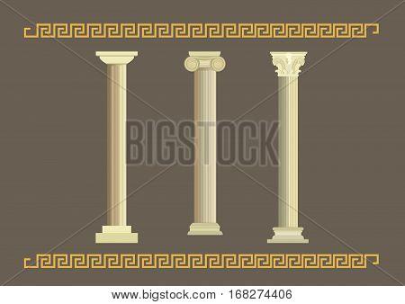 A set of classical ancient columns. Doric, Ionic and Corinthian.