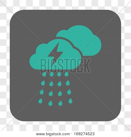 Thunderstorm Clouds interface toolbar button. Vector icon style is a flat symbol in a rounded square button cyan and gray colors chess transparent background.
