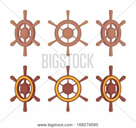 Set of wooden ship steering wheels for water vessel in different sides isolated against white background, device for boat, decoration navy element, leadership and new course in business navigation