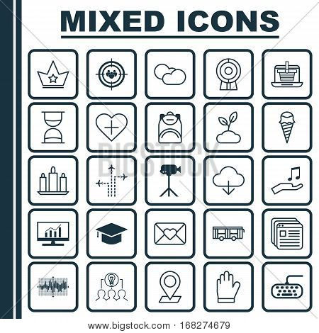 Set Of 25 Universal Editable Icons. Can Be Used For Web, Mobile And App Design. Includes Elements Such As Protection Mitt, Market Research, Cloud Cumulus And More.