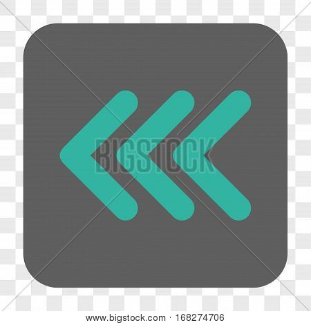 Triple Arrowhead Left interface toolbar button. Vector icon style is a flat symbol inside a rounded square button cyan and gray colors chess transparent background.