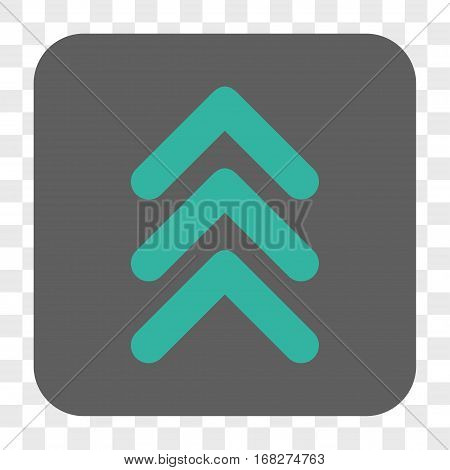 Triple Arrowhead Up interface toolbar button. Vector icon style is a flat symbol in a rounded square button cyan and gray colors chess transparent background.