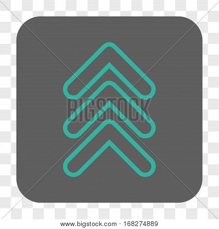 Triple Pointer Up interface toolbar button. Vector icon style is a flat symbol inside a rounded square button cyan and gray colors chess transparent background.